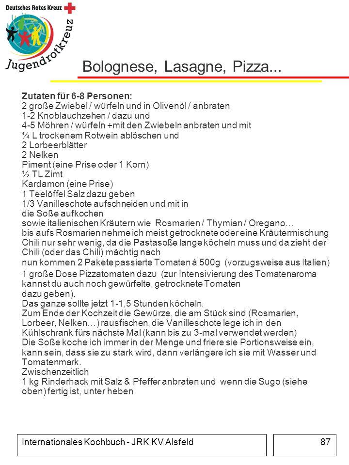 Bolognese, Lasagne, Pizza...
