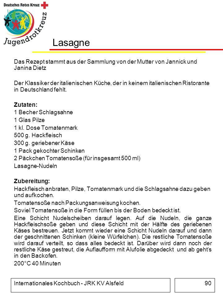 Lasagne Das Rezept stammt aus der Sammlung von der Mutter von Jannick und Janina Dietz.