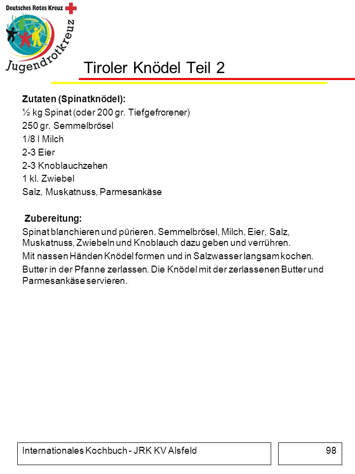 Tiroler Knödel Teil 2 Zutaten (Spinatknödel):