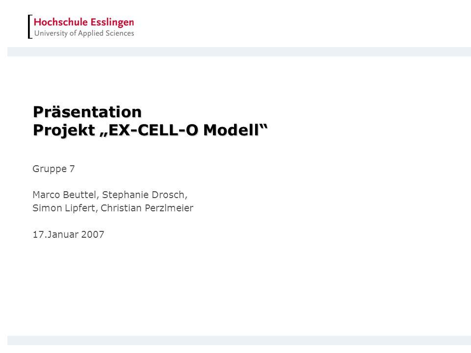"""Präsentation Projekt """"EX-CELL-O Modell"""