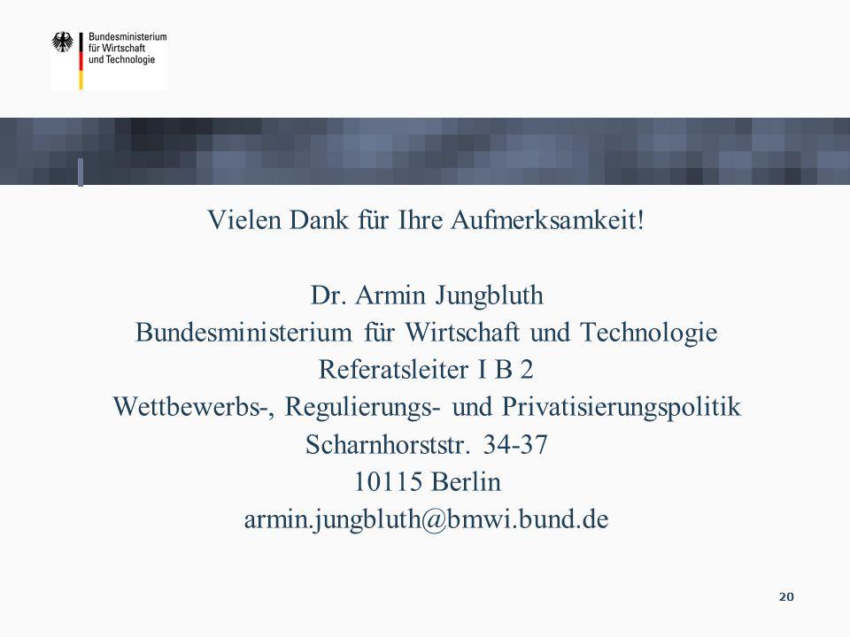 Vielen Dank für Ihre Aufmerksamkeit! Dr. Armin Jungbluth