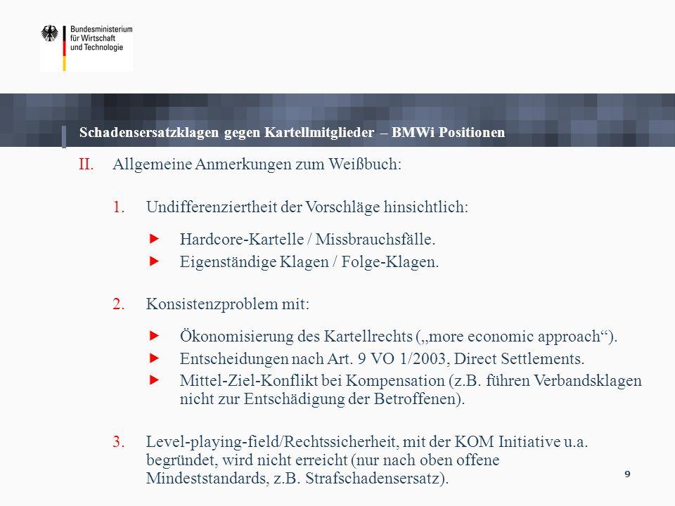Schadensersatzklagen gegen Kartellmitglieder – BMWi Positionen
