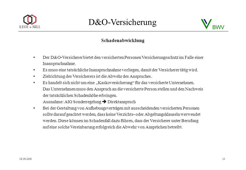 Schadenabwicklung Der D&O-Versicherer bietet den versicherten Personen Versicherungsschutz im Falle einer Inanspruchnahme.