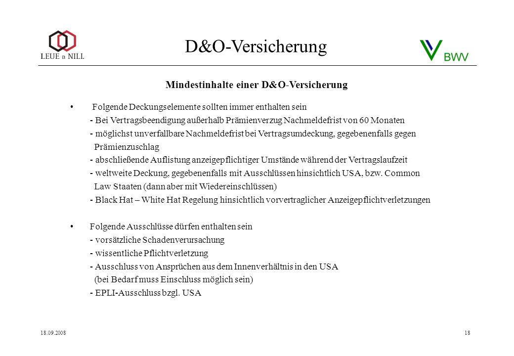 Mindestinhalte einer D&O-Versicherung