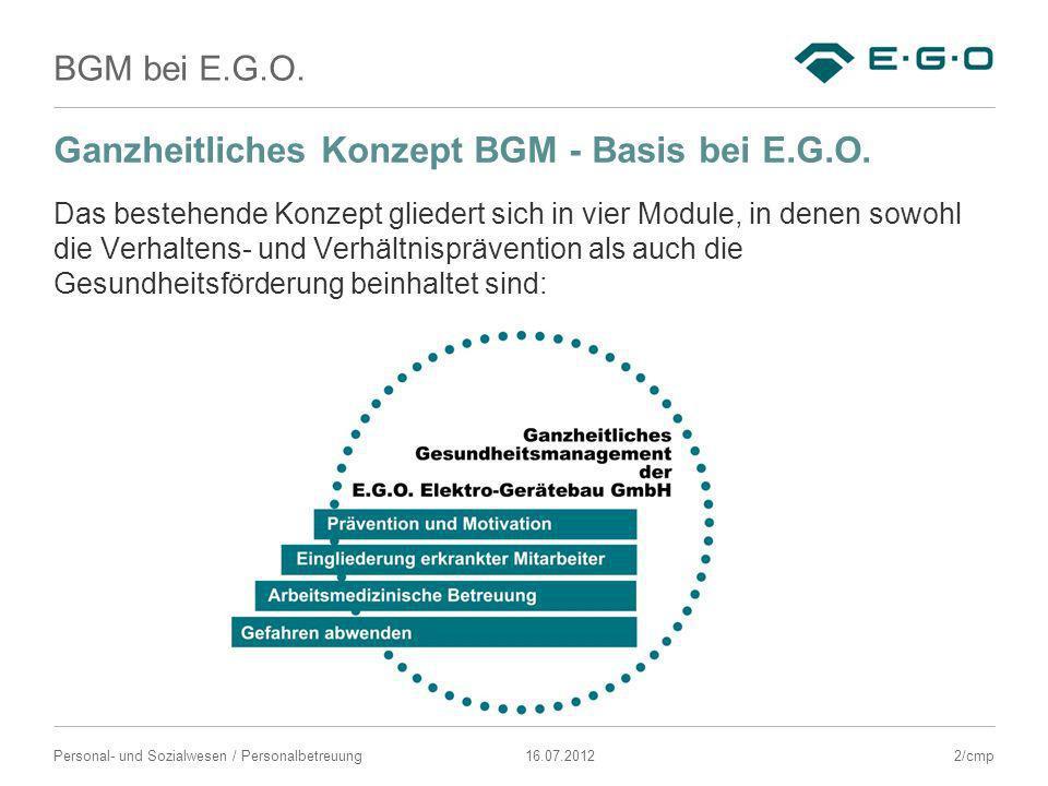 Ganzheitliches Konzept BGM - Basis bei E.G.O.