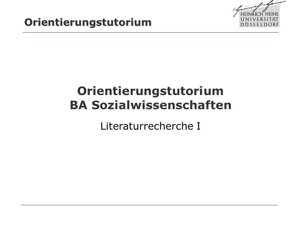 Orientierungstutorium BA Sozialwissenschaften