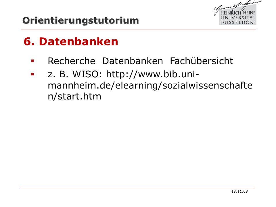 6. Datenbanken Recherche Datenbanken Fachübersicht