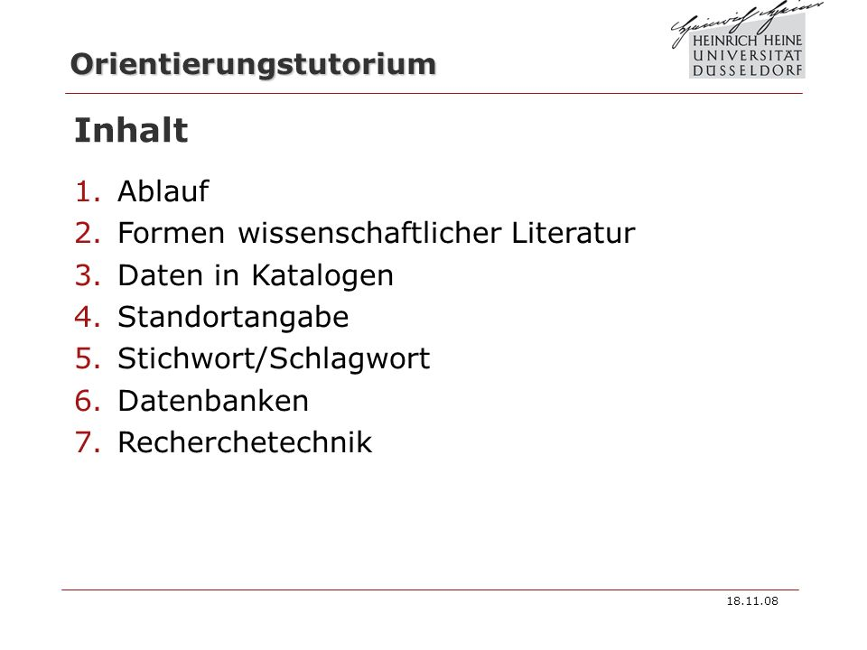 Inhalt Ablauf Formen wissenschaftlicher Literatur Daten in Katalogen