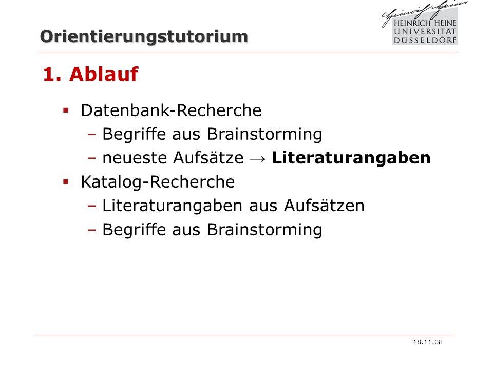 1. Ablauf Datenbank-Recherche Begriffe aus Brainstorming