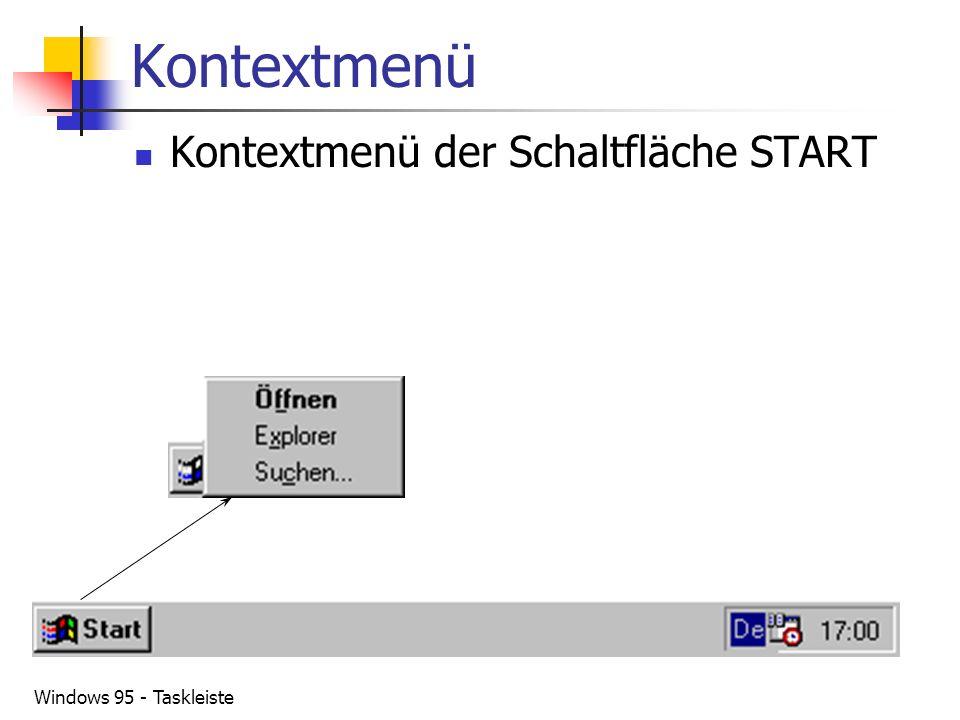 Kontextmenü Kontextmenü der Schaltfläche START Windows 95 - Taskleiste