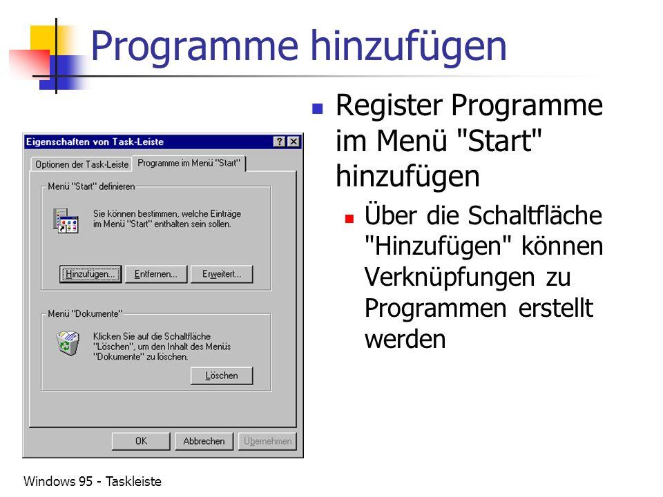 Programme hinzufügen Register Programme im Menü Start hinzufügen