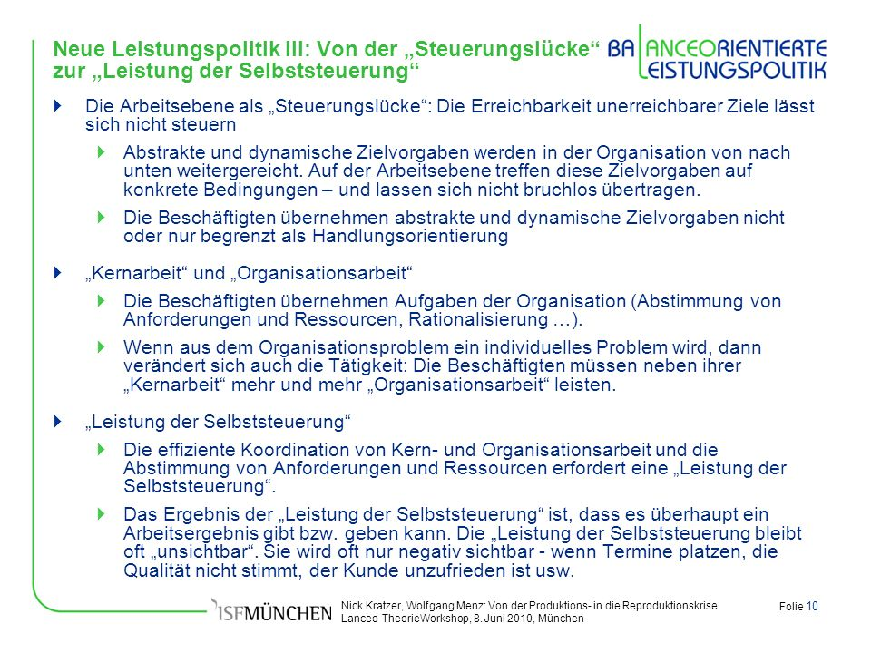 """Neue Leistungspolitik III: Von der """"Steuerungslücke zur """"Leistung der Selbststeuerung"""