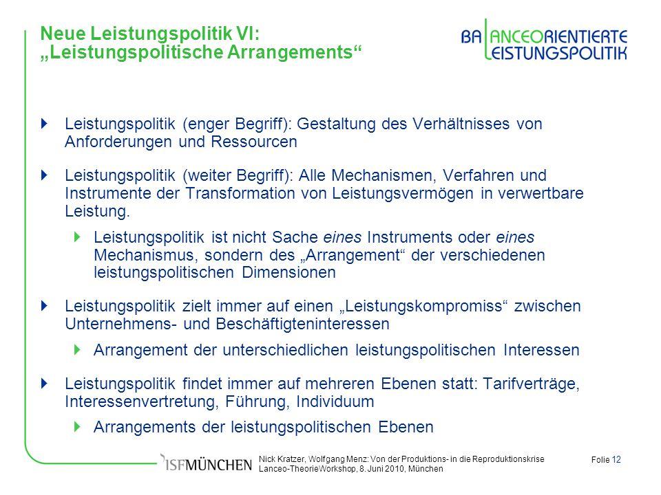 """Neue Leistungspolitik VI: """"Leistungspolitische Arrangements"""