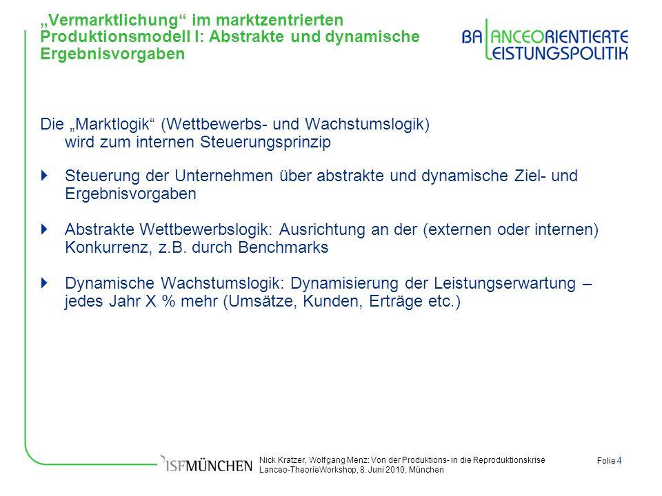 """""""Vermarktlichung im marktzentrierten Produktionsmodell I: Abstrakte und dynamische Ergebnisvorgaben"""
