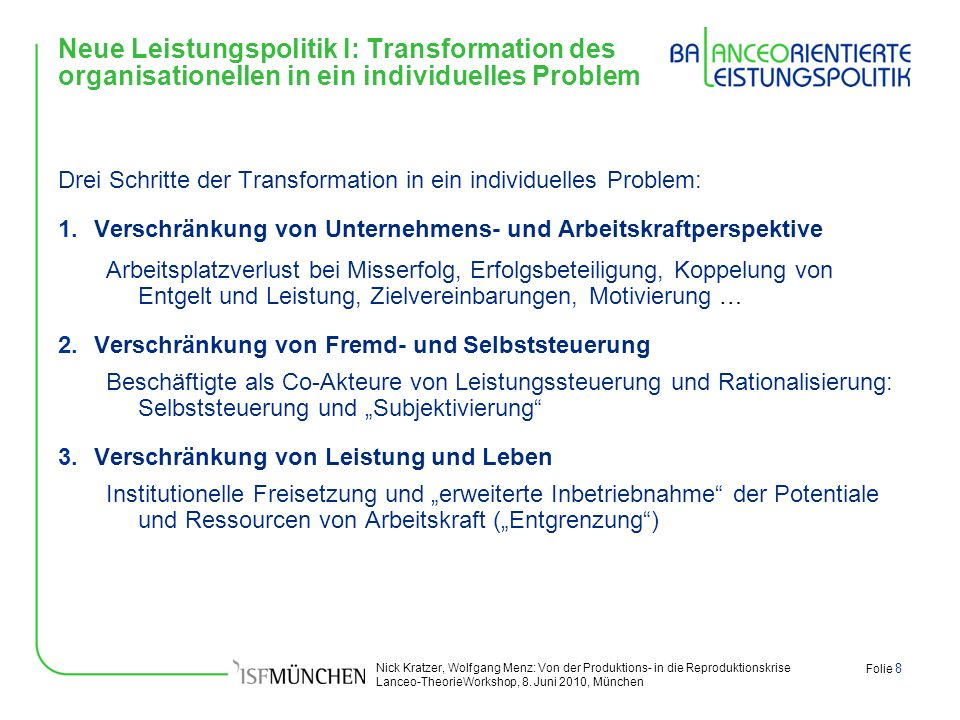 Neue Leistungspolitik I: Transformation des organisationellen in ein individuelles Problem
