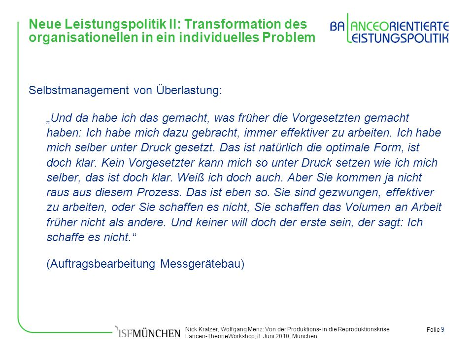 Neue Leistungspolitik II: Transformation des organisationellen in ein individuelles Problem