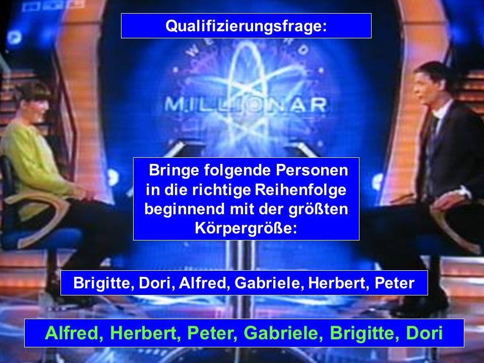 Alfred, Herbert, Peter, Gabriele, Brigitte, Dori