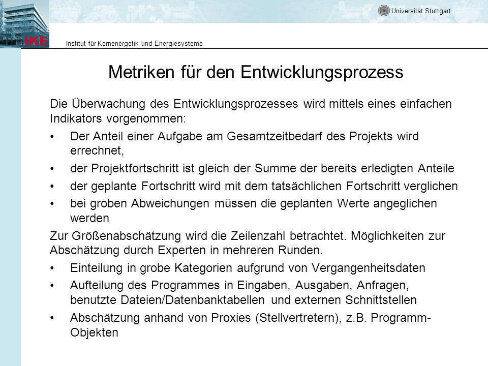 Metriken für den Entwicklungsprozess