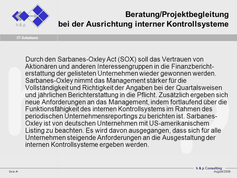 Beratung/Projektbegleitung bei der Ausrichtung interner Kontrollsysteme