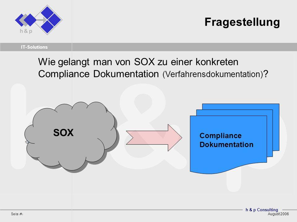 Fragestellung Wie gelangt man von SOX zu einer konkreten Compliance Dokumentation (Verfahrensdokumentation)