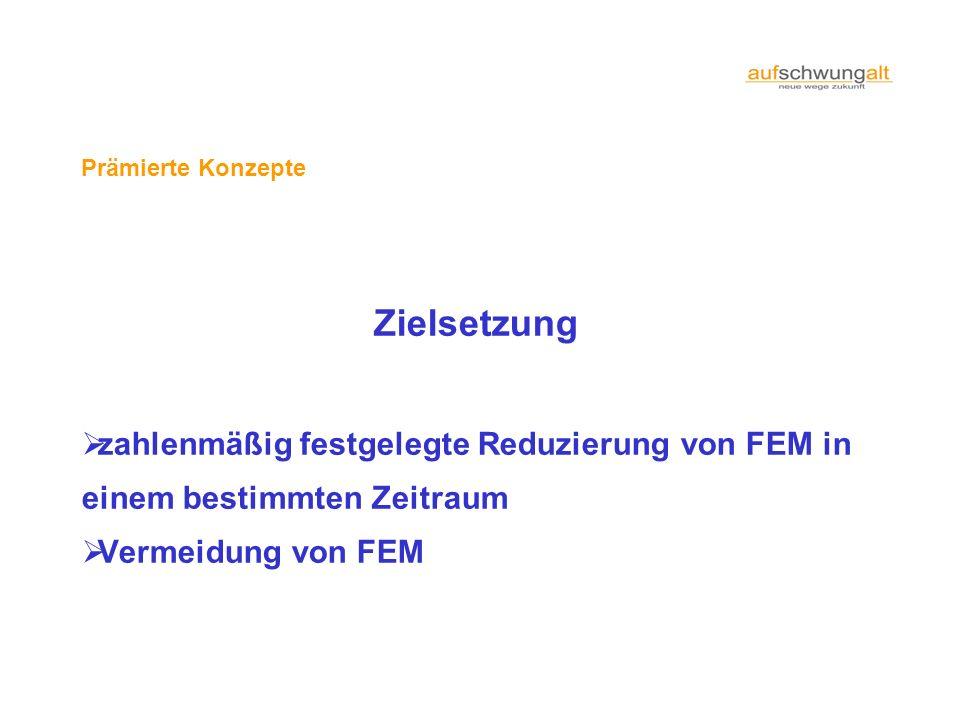 Prämierte Konzepte. Zielsetzung. zahlenmäßig festgelegte Reduzierung von FEM in einem bestimmten Zeitraum.