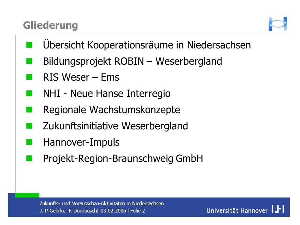 Gliederung Übersicht Kooperationsräume in Niedersachsen. Bildungsprojekt ROBIN – Weserbergland. RIS Weser – Ems.
