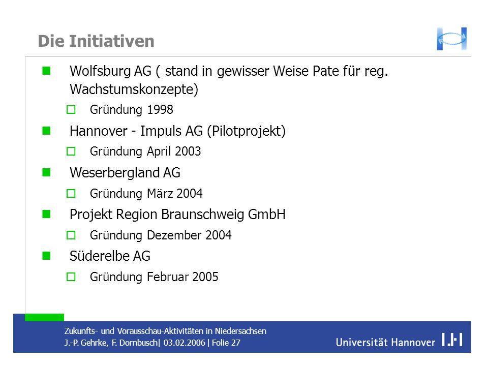 Die Initiativen Wolfsburg AG ( stand in gewisser Weise Pate für reg. Wachstumskonzepte) Gründung 1998.