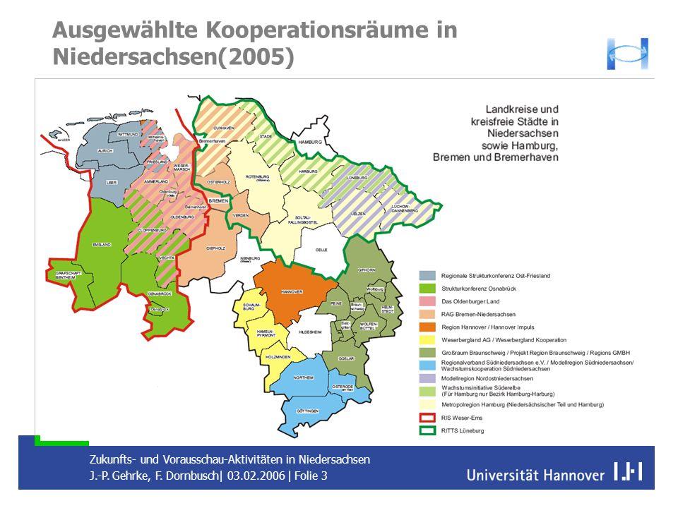 Ausgewählte Kooperationsräume in Niedersachsen(2005)