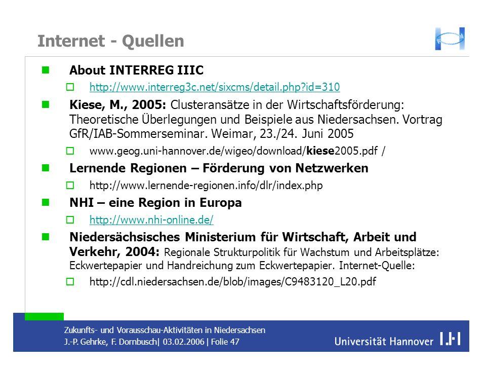 Internet - Quellen About INTERREG IIIC
