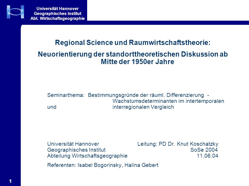 Regional Science und Raumwirtschaftstheorie: