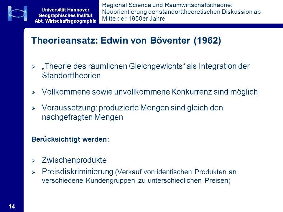 Theorieansatz: Edwin von Böventer (1962)