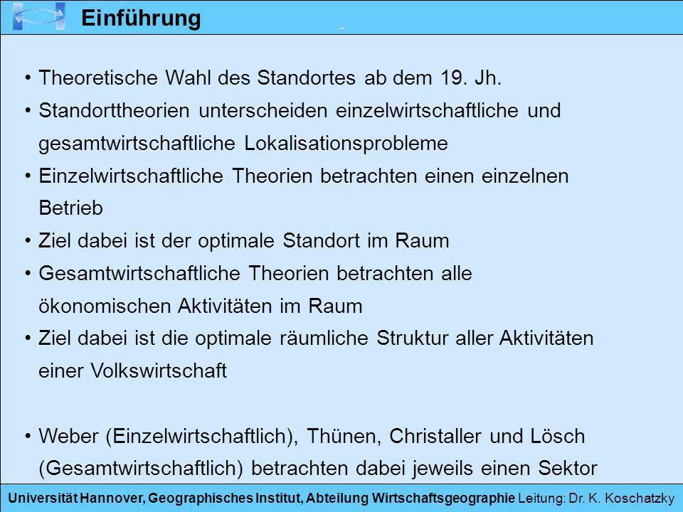Einführung Theoretische Wahl des Standortes ab dem 19. Jh.
