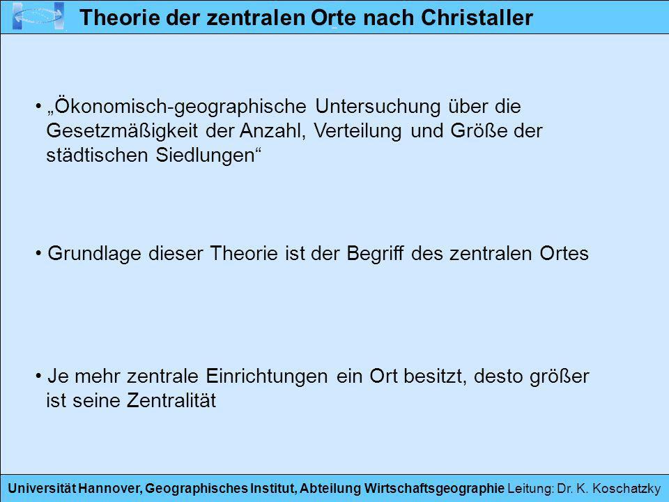 Theorie der zentralen Orte nach Christaller