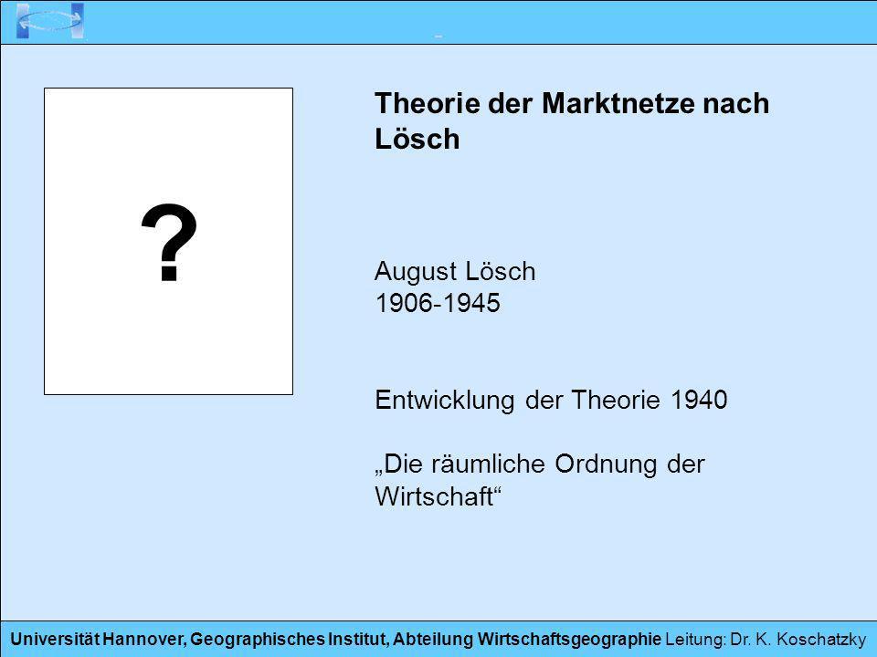Theorie der Marktnetze nach Lösch August Lösch 1906-1945