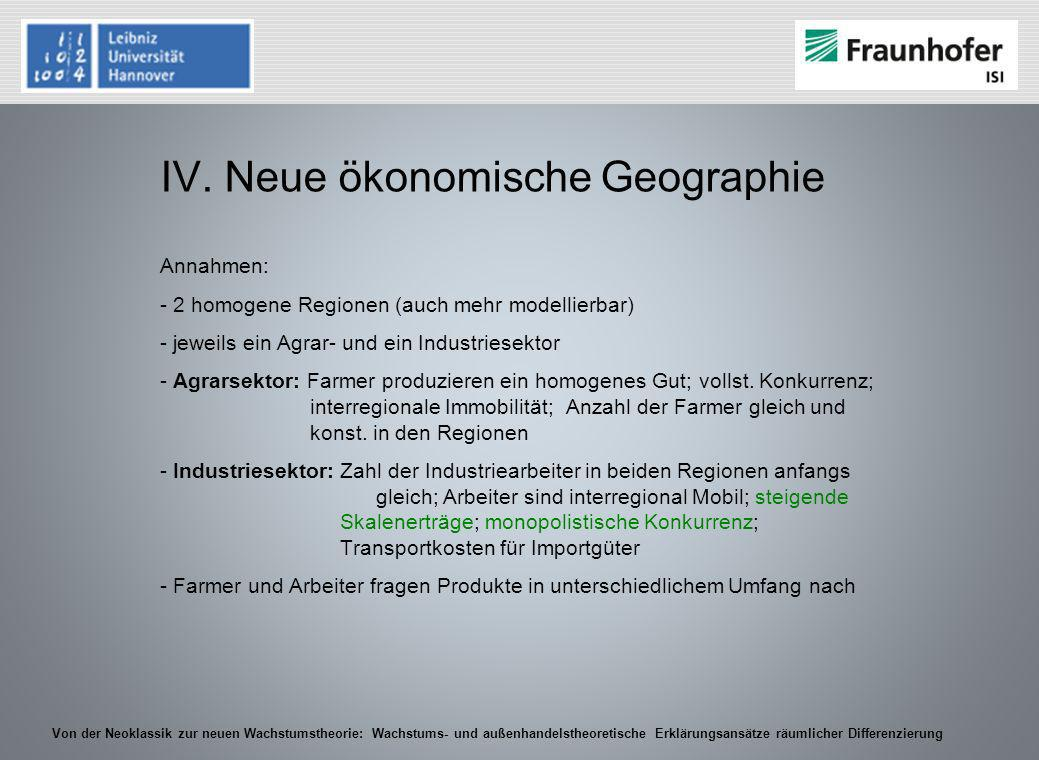 IV. Neue ökonomische Geographie