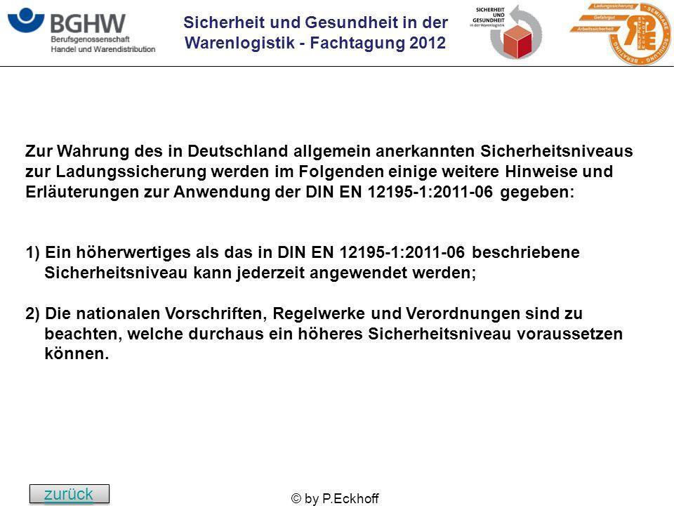 Zur Wahrung des in Deutschland allgemein anerkannten Sicherheitsniveaus zur Ladungssicherung werden im Folgenden einige weitere Hinweise und Erläuterungen zur Anwendung der DIN EN 12195-1:2011-06 gegeben: