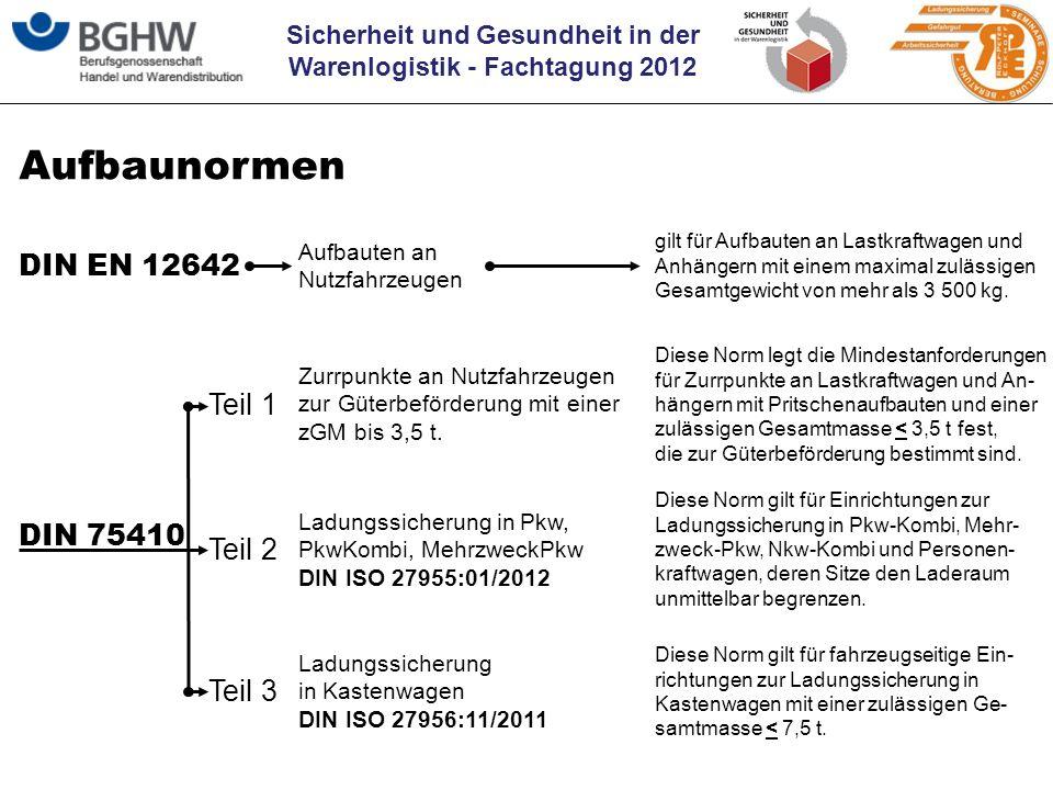 Aufbaunormen DIN EN 12642 Teil 1 DIN 75410 Teil 2 Teil 3 Aufbauten an