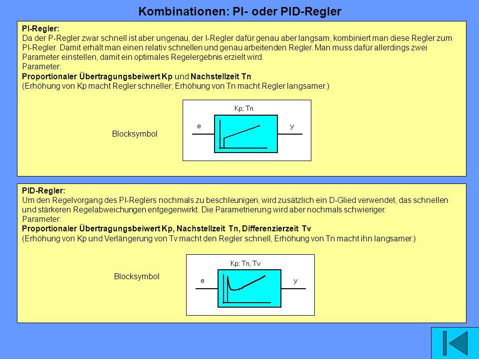 Kombinationen: PI- oder PID-Regler