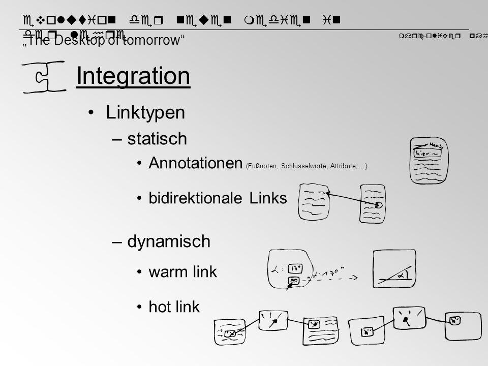Integration Linktypen statisch dynamisch