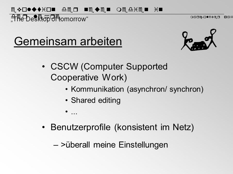 Gemeinsam arbeiten CSCW (Computer Supported Cooperative Work)