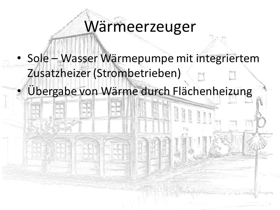 Wärmeerzeuger Sole – Wasser Wärmepumpe mit integriertem Zusatzheizer (Strombetrieben) Übergabe von Wärme durch Flächenheizung.