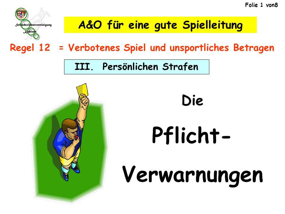 III. Persönlichen Strafen A&O für eine gute Spielleitung