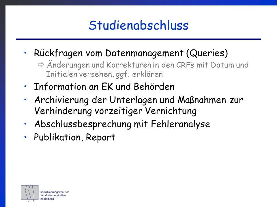 Studienabschluss Rückfragen vom Datenmanagement (Queries)