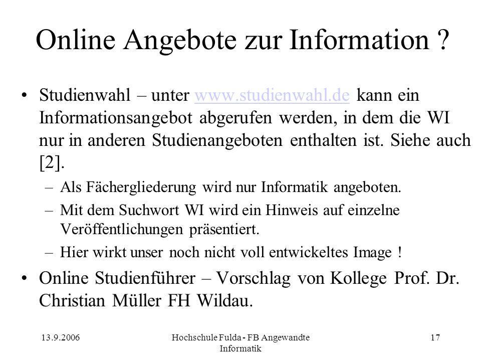 Online Angebote zur Information