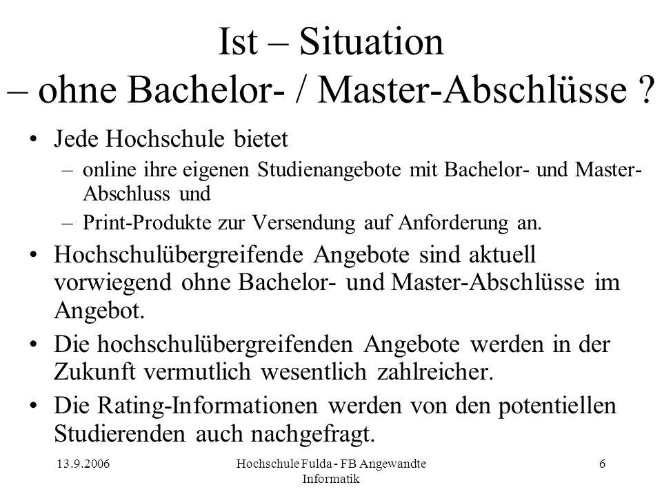 Ist – Situation – ohne Bachelor- / Master-Abschlüsse