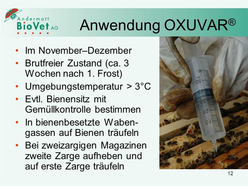 Anwendung OXUVAR® Im November–Dezember