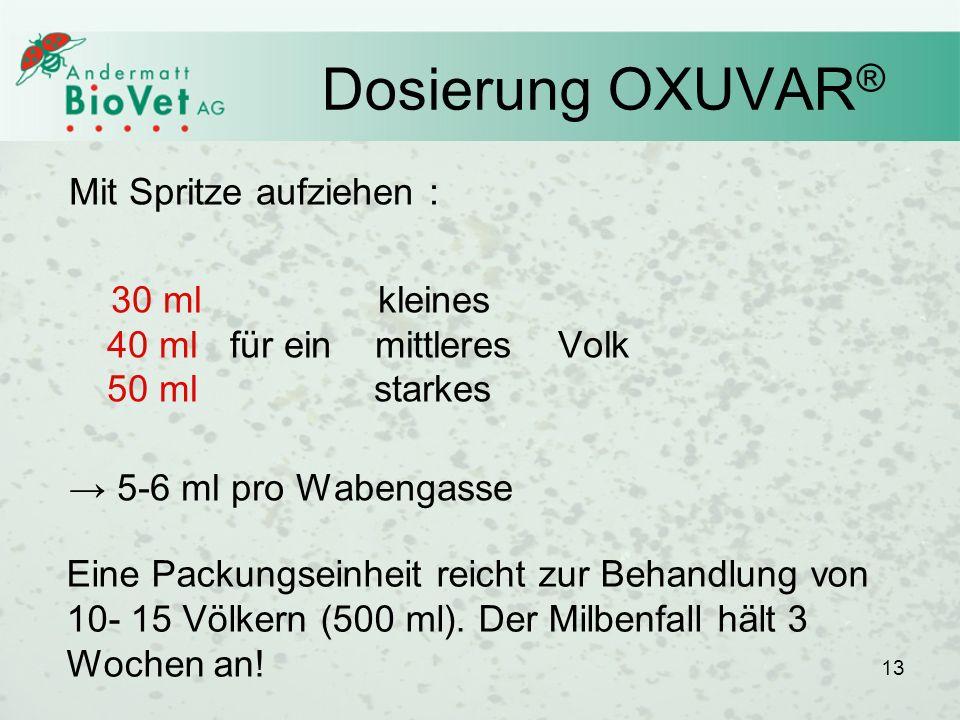 Dosierung OXUVAR® Mit Spritze aufziehen :