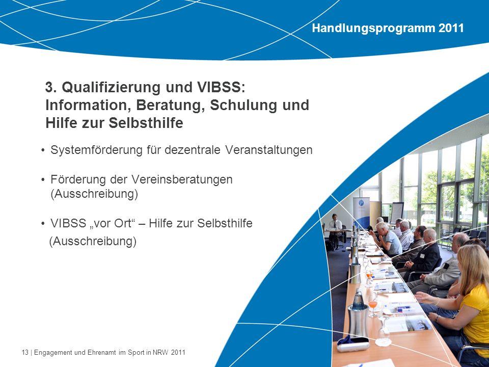 Handlungsprogramm 2011 3. Qualifizierung und VIBSS: Information, Beratung, Schulung und Hilfe zur Selbsthilfe.