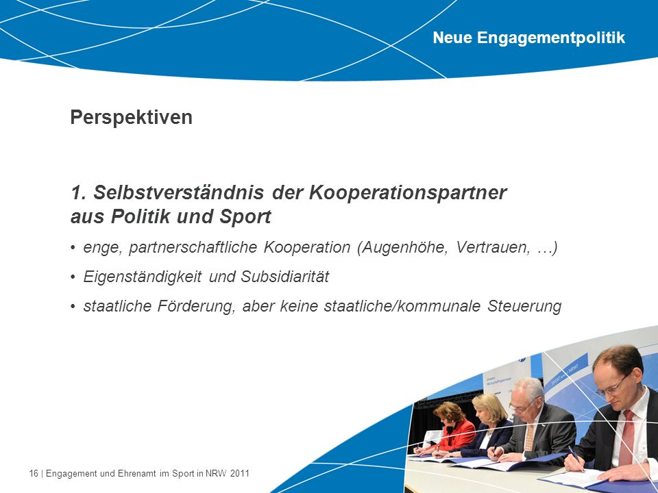 1. Selbstverständnis der Kooperationspartner aus Politik und Sport