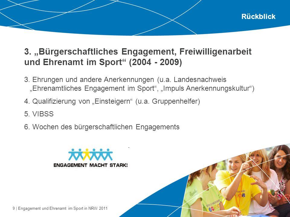 """Rückblick 3. """"Bürgerschaftliches Engagement, Freiwilligenarbeit und Ehrenamt im Sport (2004 - 2009)"""